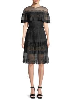 Tadashi Illusion A-Line Cocktail Dress w/ Pleated Cape
