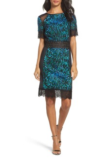 Tadashi Shoji Illusion Lace & Embroidered Mesh Sheath Dress
