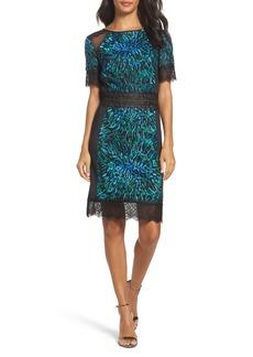 Tadashi Shoji Illusion Lace & Embroidered Mesh Sheath Dress