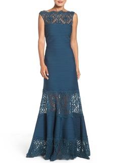 Tadashi Shoji Illusion Lace & Jersey Gown (Regular & Petite)