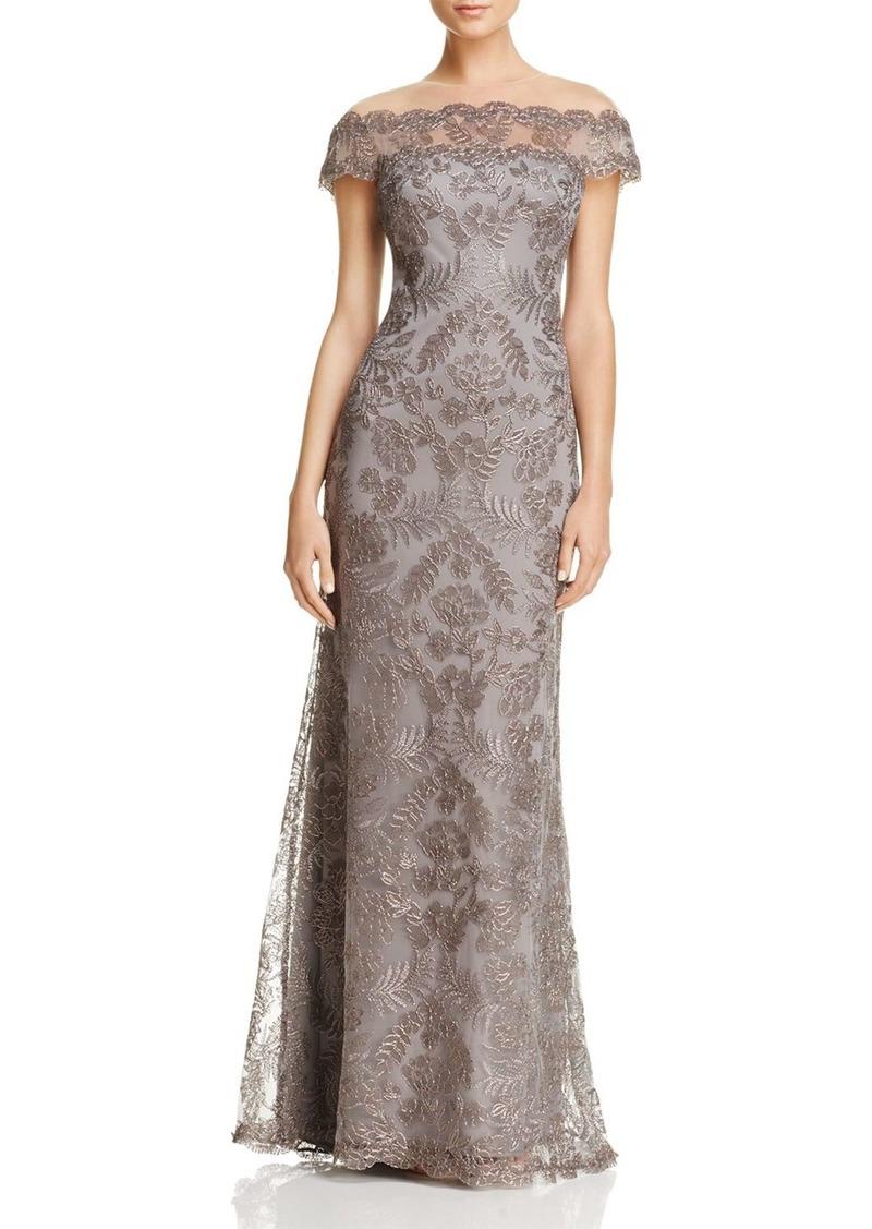 SALE! Tadashi Tadashi Shoji Illusion Off-The-Shoulder Lace Gown