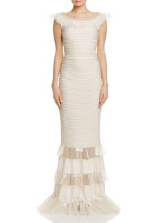 Tadashi Shoji Illusion Ruffle Pintucked Gown