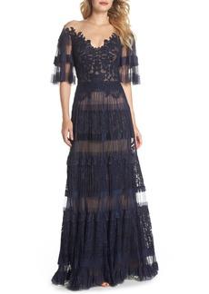 Tadashi Shoji Illusion V-Neck Lace Gown