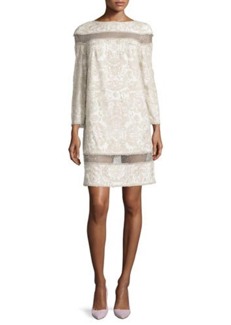 Tadashi Shoji Jacquard Cocktail Dress with Illusion Accents