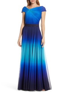 Tadashi Shoji Knotted Ombré Mesh Evening Gown