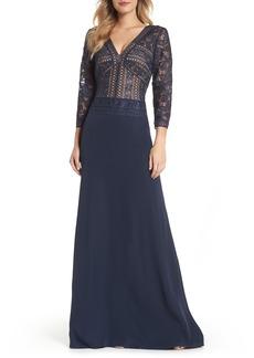 Tadashi Shoji Lace & Crepe A-Line Gown (Regular & Petite)