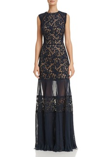 Tadashi Shoji Lace and Chiffon Illusion Gown - 100% Exclusive