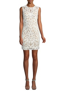 Tadashi Lace Appliqué Sheath Mini Dress