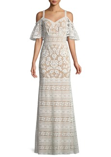Tadashi Lace Cold-Shoulder Flutter-Sleeve Gown
