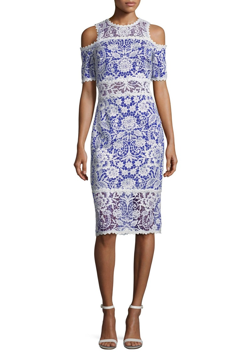 Tadashi Shoji Lace Cold-Shoulder Sheath Cocktail Dress