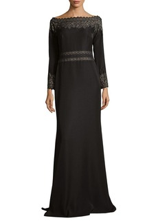 Tadashi Shoji Lace Crepe Floor-Length Gown