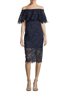 Tadashi Shoji Lace Floral Off Shoulder Dress