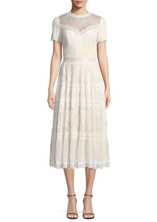 Tadashi Lace High-Neck Pleated A-Line Cocktail Dress