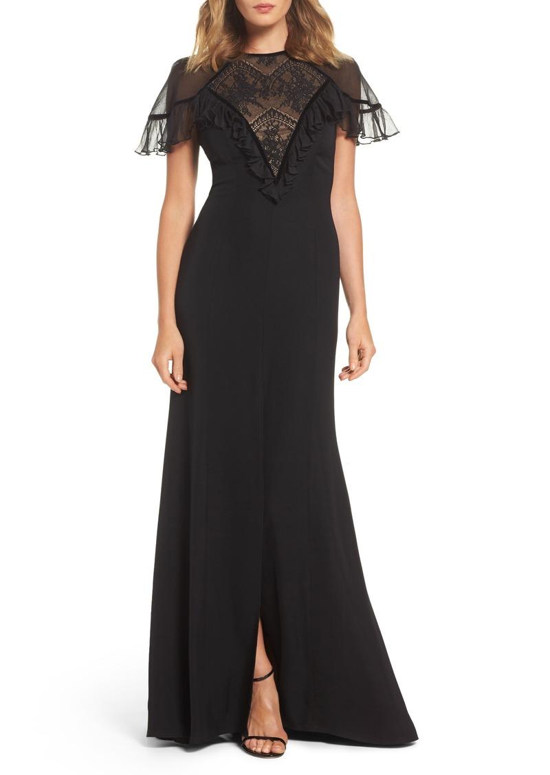 Tadashi Tadashi Shoji Lace Inset Crepe Gown | Dresses