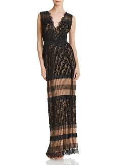 Tadashi Shoji Lace-Inset Pleated Gown