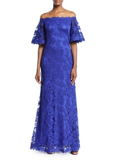 Tadashi Lace Off-the-Shoulder Long Gown