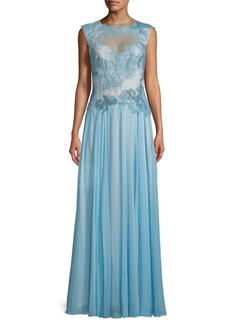 Tadashi Lace Open-Back Floor-Length Gown