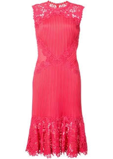 Tadashi Shoji lace panelled fitted dress - Red