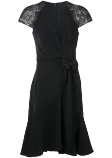 Tadashi Shoji lace sleeves wrap dress - Black