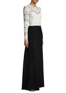 Tadashi Shoji Lace Top Floor-Length Gown
