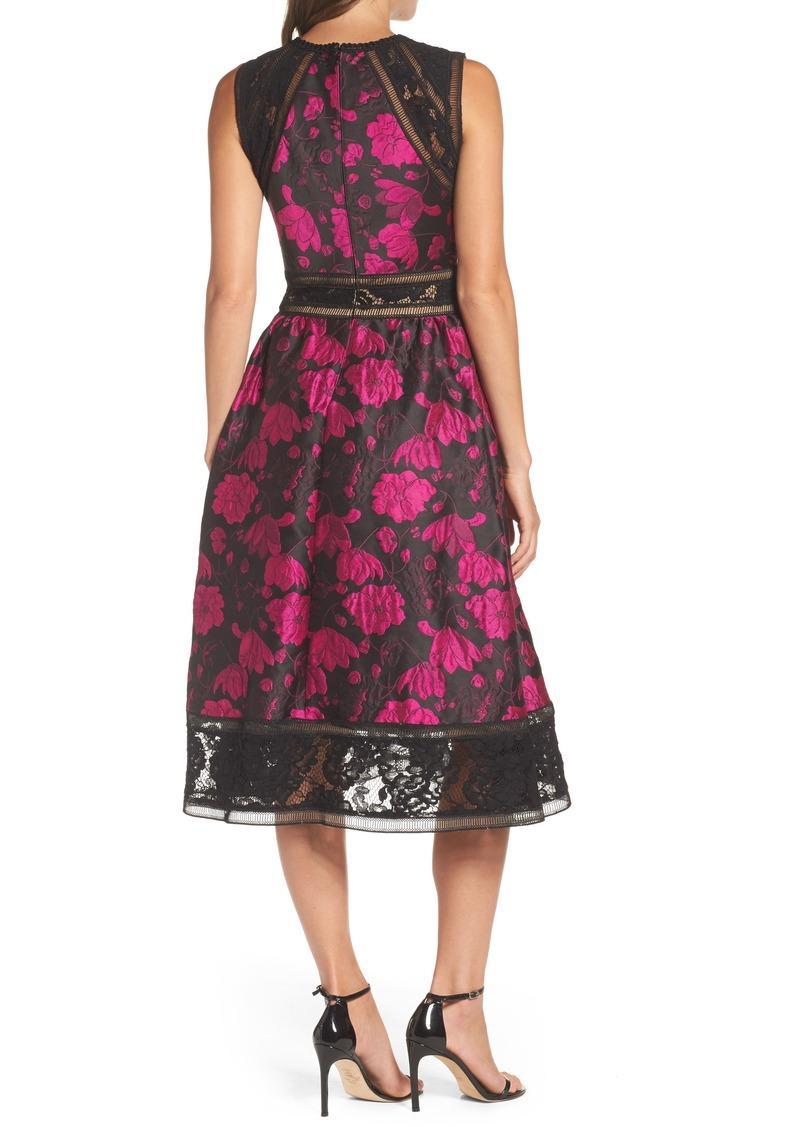 Tadashi Tadashi Shoji Lace Trim Rose Jacquard Midi Dress Dresses