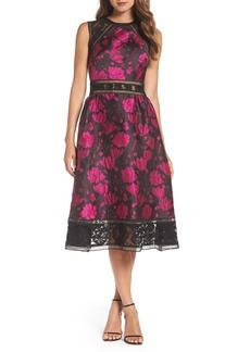 Tadashi Shoji Lace Trim Rose Jacquard Midi Dress