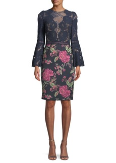 Tadashi Lace Trumpet-Sleeve Cocktail Dress w/ Floral Skirt