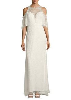 Tadashi Shoji Laced Cold-Shoulder Column Gown