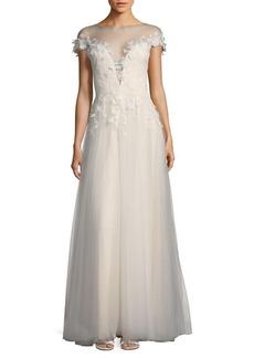 Tadashi Shoji Laced Floor-Length Gown