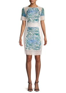 Tadashi Short Sleeve Lace Cocktail Dress