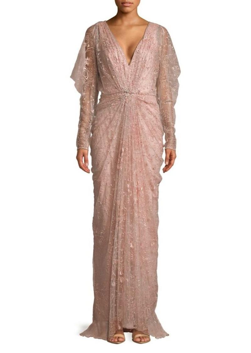 Tadashi Tadashi Shoji Long Sleeve Embellished Column Gown   Dresses