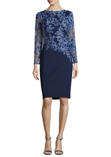 Tadashi Shoji Long-Sleeve Embroidered Neoprene Cocktail Dress