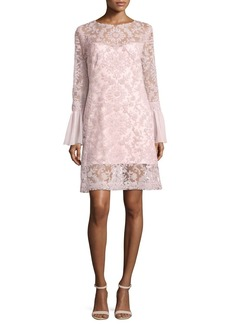 Tadashi Shoji Long-Sleeve Embroidered Overlay Cocktail Dress