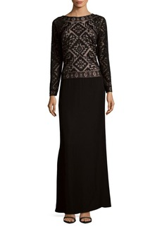 Tadashi Long-Sleeve Floor-Length Gown