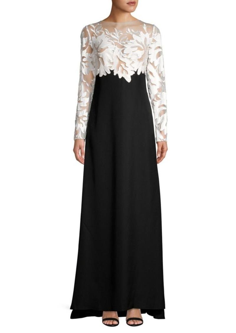 Tadashi Shoji Long Sleeve Lace Gown