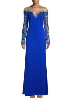 Tadashi Shoji Mesh Long-Sleeve Evening Gown