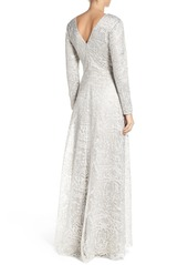 Tadashi Shoji Metallic Embroidered Lace Maxi Dress
