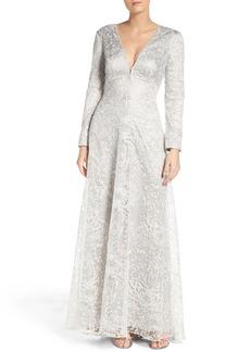 Tadashi Shoji Metallic Embroidered Lace Maxi Dress