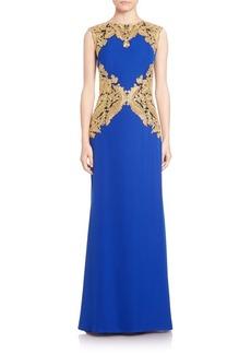Tadashi Shoji Metallic Lace-Trimmed Crepe Gown
