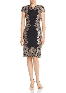 Tadashi Shoji Neoprene Metallic Sequin Dress