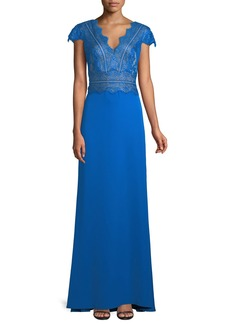 Tadashi Nolan Scalloped Lace-Bodice Gown