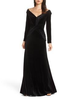 Tadashi Shoji Off-Shoulder Velvet Gown