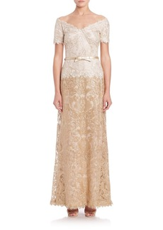 Tadashi Shoji Off-The-Shoulder A-Line Belted Lace Gown