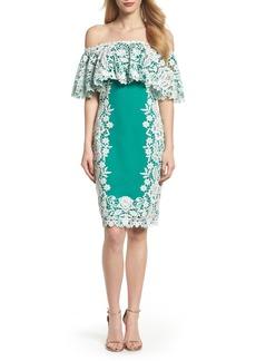 Tadashi Shoji Off the Shoulder Crochet & Neoprene Dress