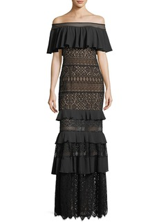 Tadashi Shoji Off-the-Shoulder Crochet Ruffle Evening Gown
