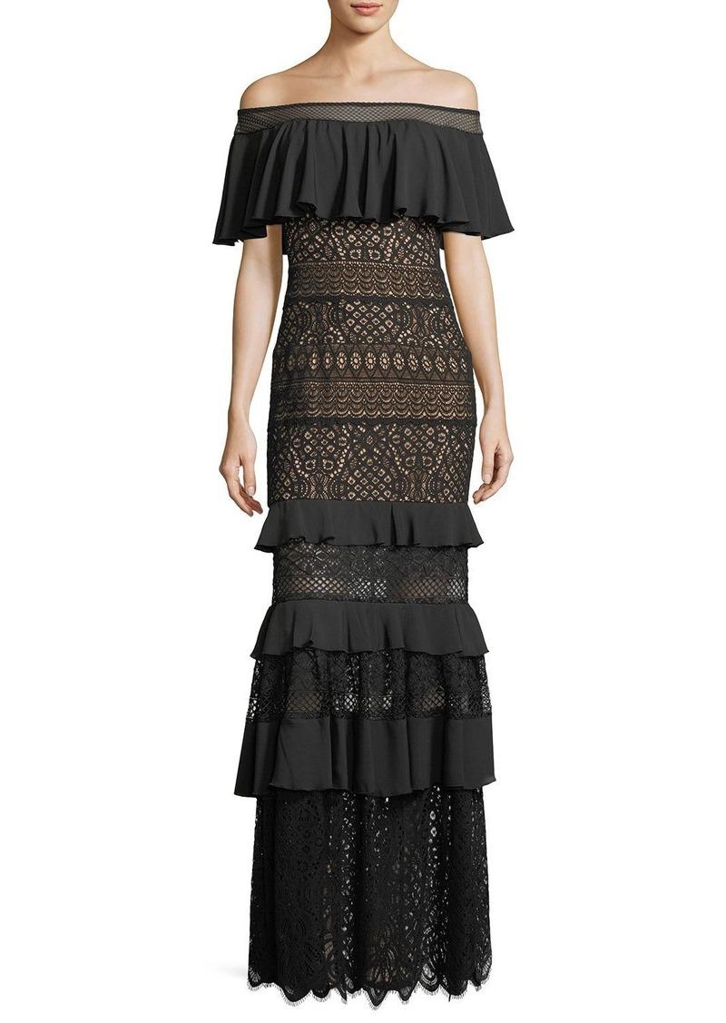 Tadashi Tadashi Shoji Off-the-Shoulder Crochet Ruffle Evening Gown