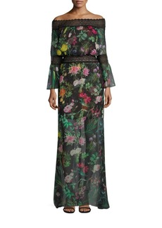 Off-the-Shoulder Floral Printed Sheer Bell-Sleeve Gown