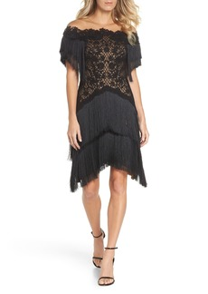 Tadashi Shoji Off the Shoulder Fringe & Embroidered Mesh Dress