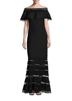 Tadashi Off-The-Shoulder Ruffle Gown