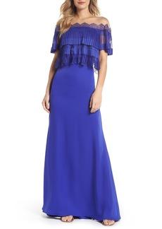 Tadashi Shoji Off-the-Shoulder Lace & Crepe Gown